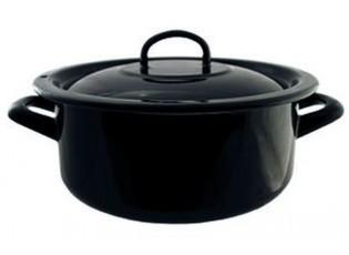 Černý smaltovaný rendlík kastrol s poklicí Blacck - Ø20cm - 2,8L