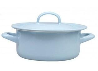 Modrý smaltovaný kastrol s poklicí Mint dot - Ø16cm - 1,5L