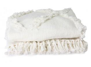 Krémový přehoz na dvoulůžkové postele s třásněmi Fringe - 270*270 cm