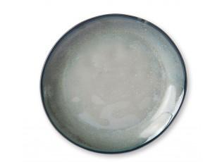 Tyrkysovo šedý ručně tvarovaný dezertní talíř Home Chef - 20*19*2,3cm