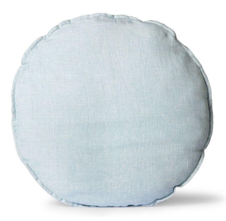 Levně HKLIVING Modrý lněný kulatý podsedák Ice Blue - Ø 60 *5cm