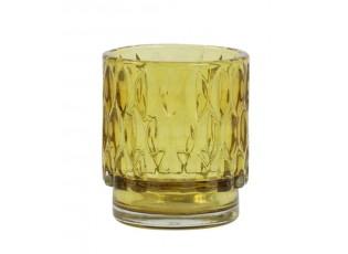 Žlutý skleněný svícen Grace - Ø 7*8 cm
