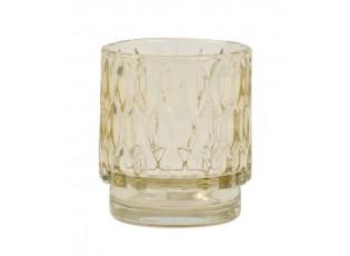 Slabě jantarový skleněný svícen Grace - Ø 7*8 cm