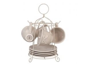 Šálky s podšálky na kovovém stojanu  Elegant Ornament - 26 * 31 cm