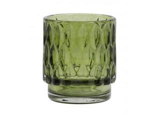 Olivově zelený skleněný svícen Grace - Ø 7*8 cm