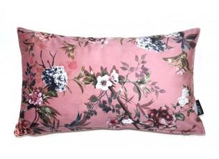 Růžový sametový polštář s květy Luisa roze- 30*50cm