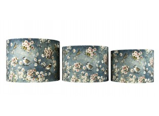 Sada 3ks šedá sametová stínidla Ptáčci s květy  - Ø 25cm Ø 30cm Ø 35cm
