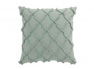 Mintový bavlněný polštář s třásněmi Rhombuses  - 43*43 cm