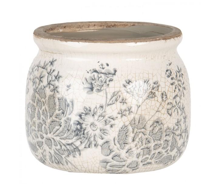 Keramický květináč se šedými květy Valeria S - Ø 12*9 cm