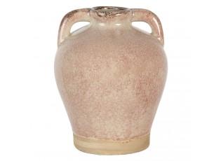 Světle růžová váza Sara s popraskáním a patinou - Ø 16*20 cm