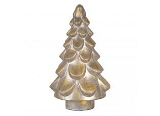 Stříbrný vánoční strom se zlatou patinou - Ø 18*30 cm