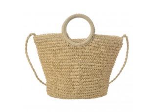 Přírodní drhaná taška přes rameno s kulatými uchy - 38*13*34 cm
