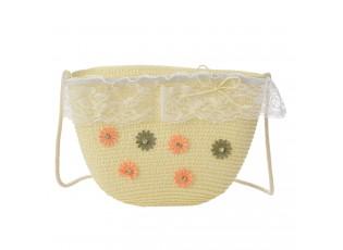 Krémová plážová taška přes rameno s kytičkami a krajkou - 22*15 cm