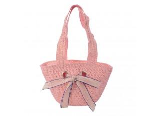 Růžová dětská plážová taška s dvěma uchy a mašlí - 22*15 cm