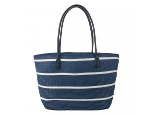 Bílo modrá plážová taška s koženkovými uchy - 46*30 cm