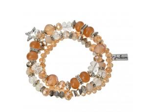 Hnědo bílý korálkový náramek s ozdobnými korálky - 15 cm