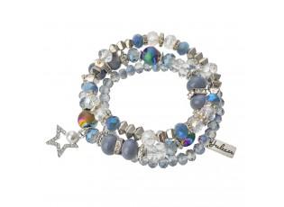 Bílo modrý korálkový náramek s hvězdičkou - 15 cm