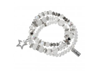 Bílo stříbrný korálkový náramek s hvězdičkou - 15 cm