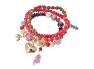 Červeno růžový korálkový náramek se srdíčkem - 15 cm