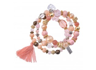 Růžovo zlatý korálkový náramek s třásní a srdcem - 15 cm