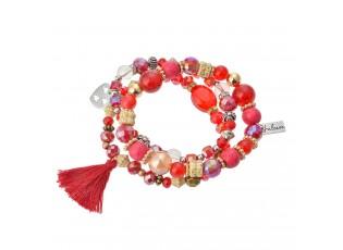 Náramek z korálků s třásní a přívěskem srdce - 15 cm