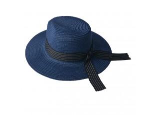 Modrý klobouk s bílo černou stuhou - 35*34 cm