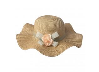Hnědý klobouk s mašlí a květinou - Ø 41 cm