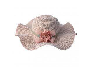 Růžový klobouk s květinou na boku - Ø 41 cm