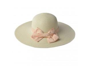 Světle béžový klobouk s růžovou mašlí - Ø 42 cm