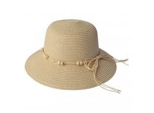 Přírodní klobouk se šňůrkou a korálky - Ø 58 cm