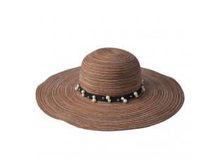 Hnědý pruhovaný klobouk s páskem a perličkami - Ø 58 cm