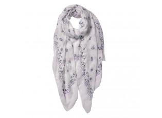 Bílý šátek s květy - 70*180 cm