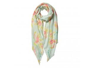 Světle modrý šátek s květinovým vzorem - 80*180 cm