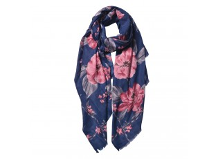 Modrý šátek s velkými květy - 80*180 cm