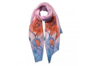 Oranžovo modrý šátek s vlčím mákem - 70*180 cm