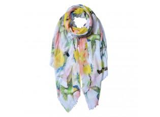 Bílý šátek s barevnými kolibříky - 80*180 cm
