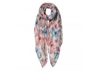Béžový šátek s motýli - 85*180 cm