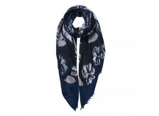 Tmavě modrý šátek s květy - 85*180 cm