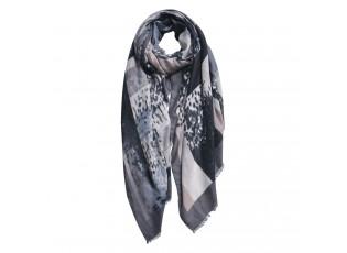 Hnědo šedý kostkovaný šátek - 85*180 cm