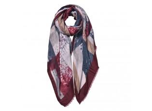 Bordovo hnědo šedý šátek - 85*180 cm