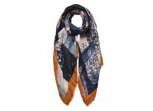 Hnědo šedý šátek s okrovým lemováním - 85*180 cm