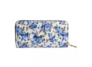 Bílá peněženka s potiskem modrých květin - 10*19 cm