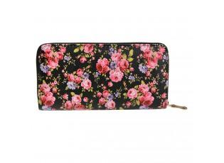 Černá peněženka s květy růží - 10*19 cm