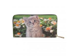 Peněženka s koťátkem a květinami - 10*19 cm