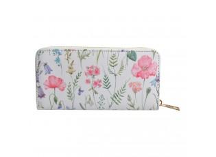 Bílá peněženka s lučním kvítím - 10*19 cm