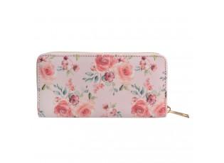 Světle růžová peněženka s květy růží - 10*19 cm
