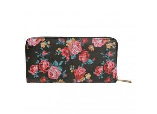 Černá peněženka s růžemi - 10*19 cm