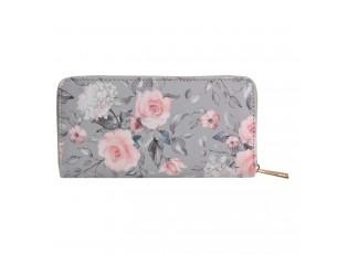 Světle šedá peněženka s růžovými květy růží - 10*19 cm