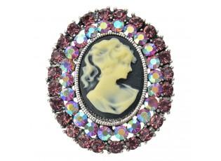 Brož s kamínky a medailonkem ženy