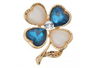 Zlatá brož čtyřlístku s modrými lístky a kamínkem